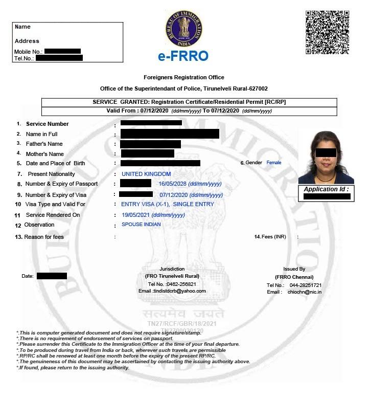 eFRRO Granted Registration Certificate