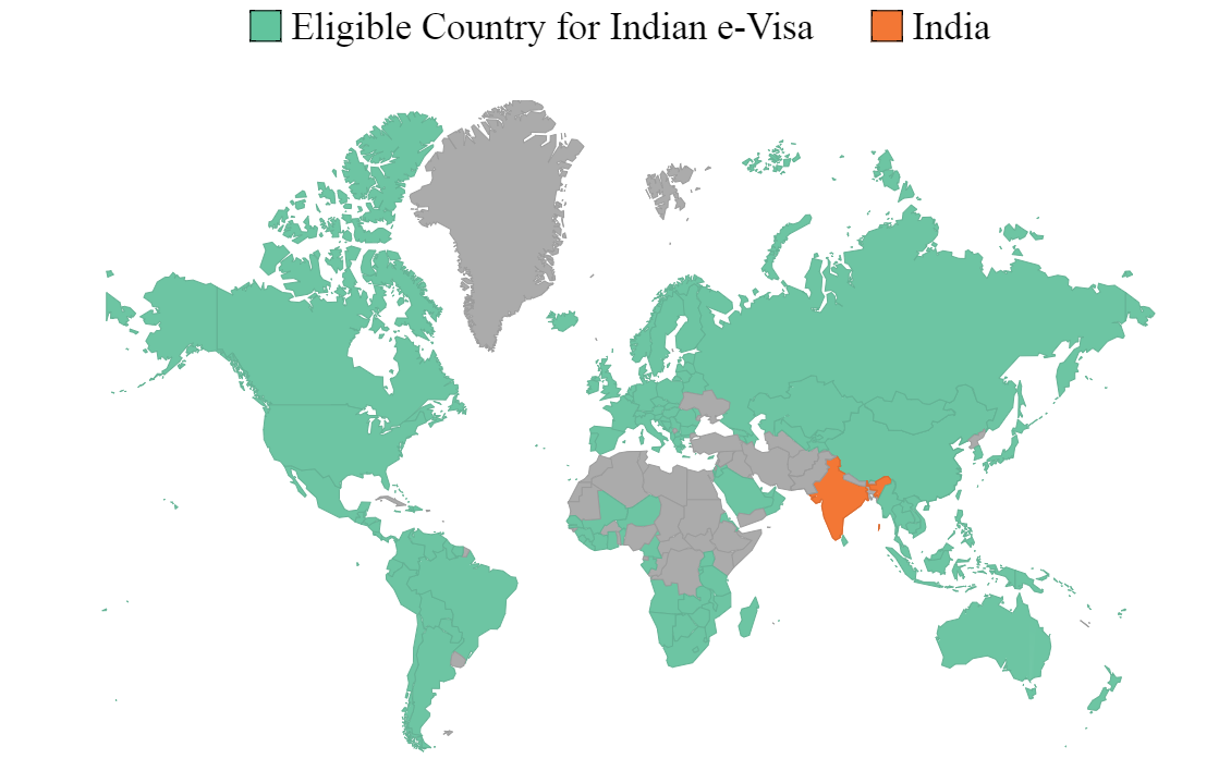 Eligible Countries for Indian Regular/Paper Visa