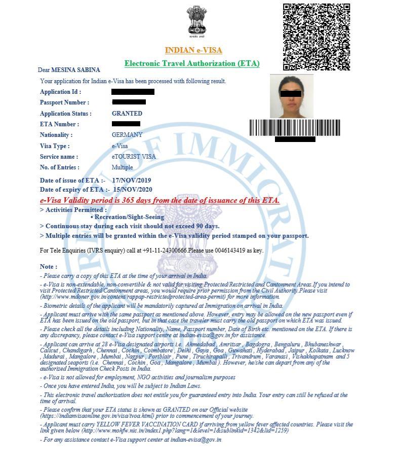 Sample of India visa