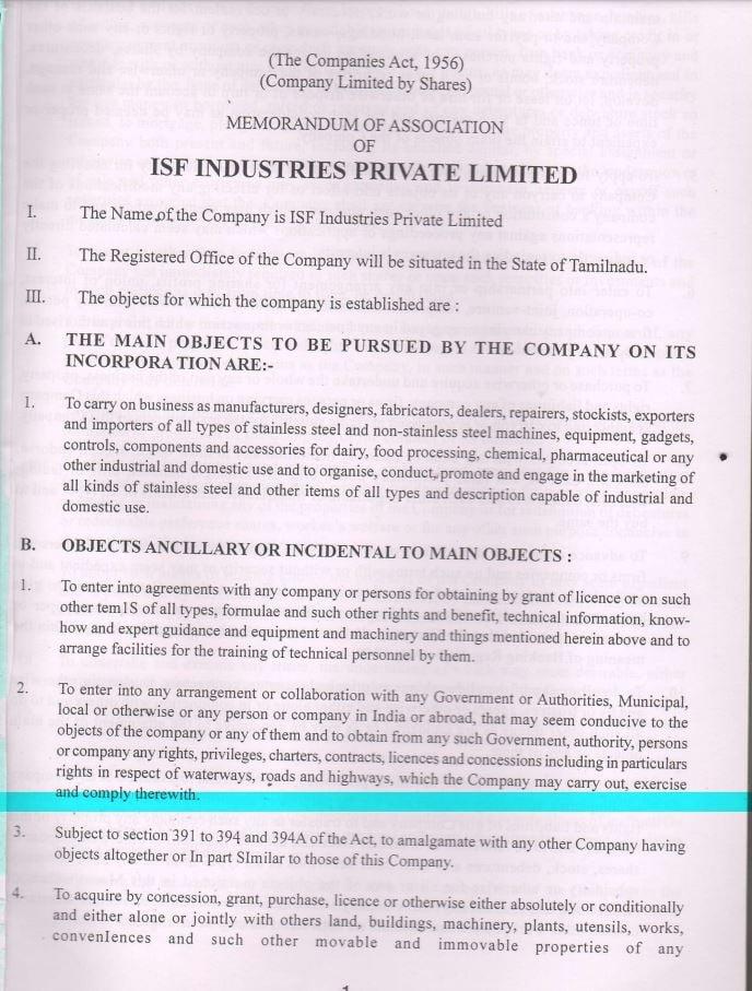 Sample of Memorandum of Articles