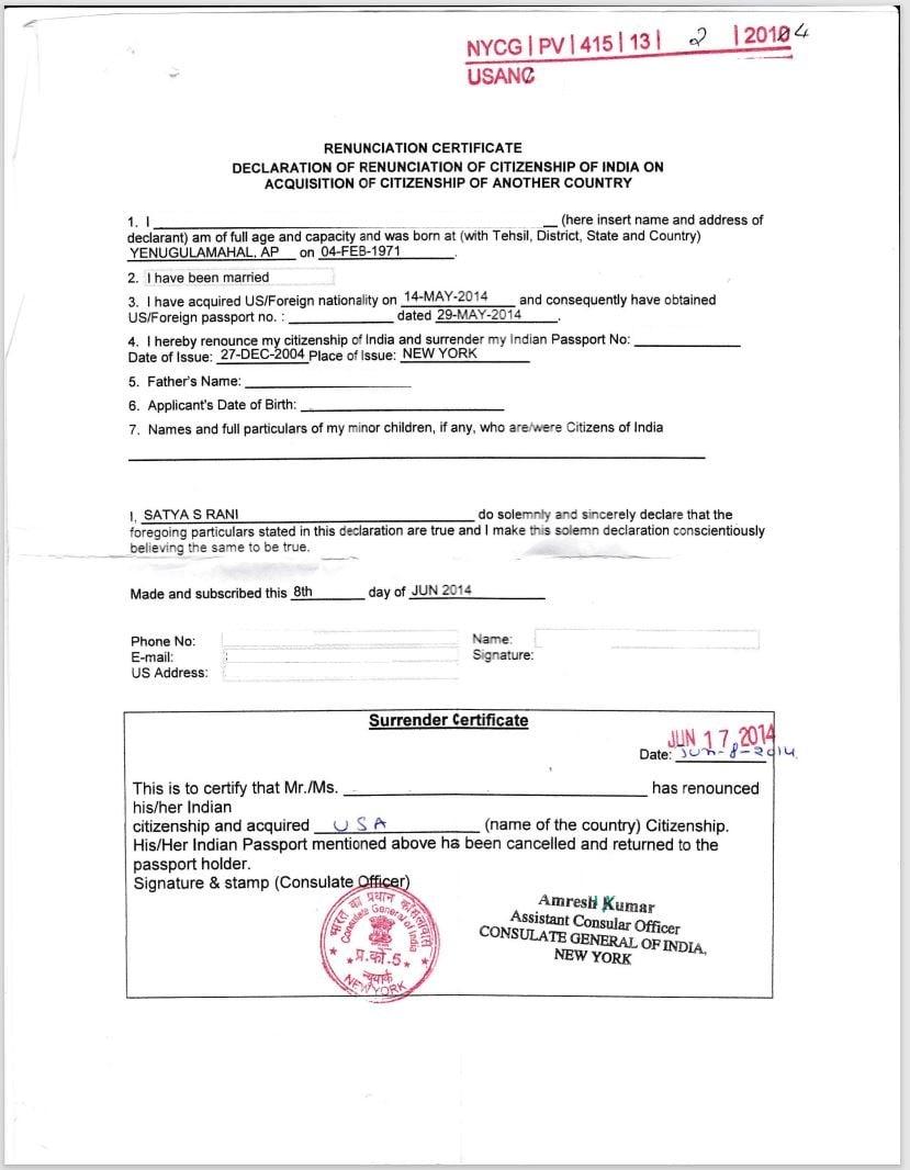 Surrendered Indian passport certificate