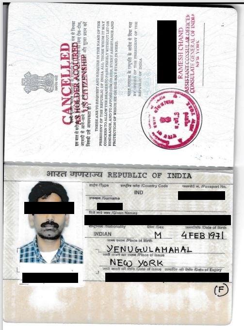 Surrendered Indian passport