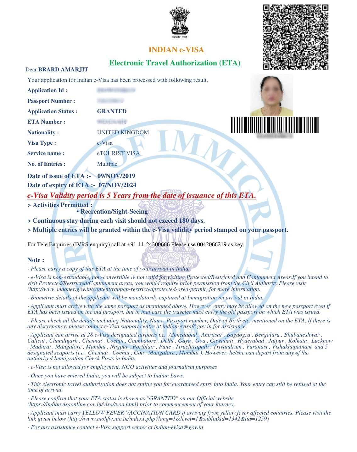 India e-Visa (Tourist) For 5-Years